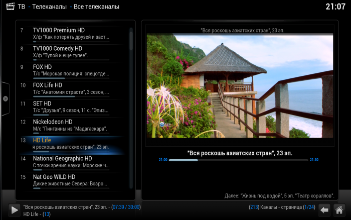 Скриншот XBMC с плагином IPTV